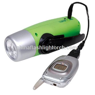 Dynamo Rechargeable Flashlight With Mobile Phone Charger
