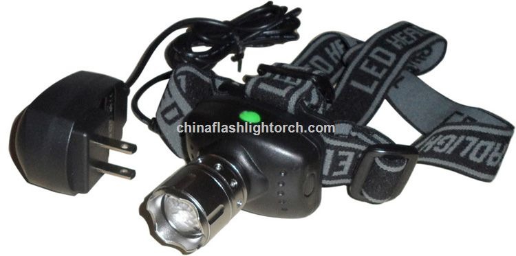 Zoom rechargeable LED headlamp