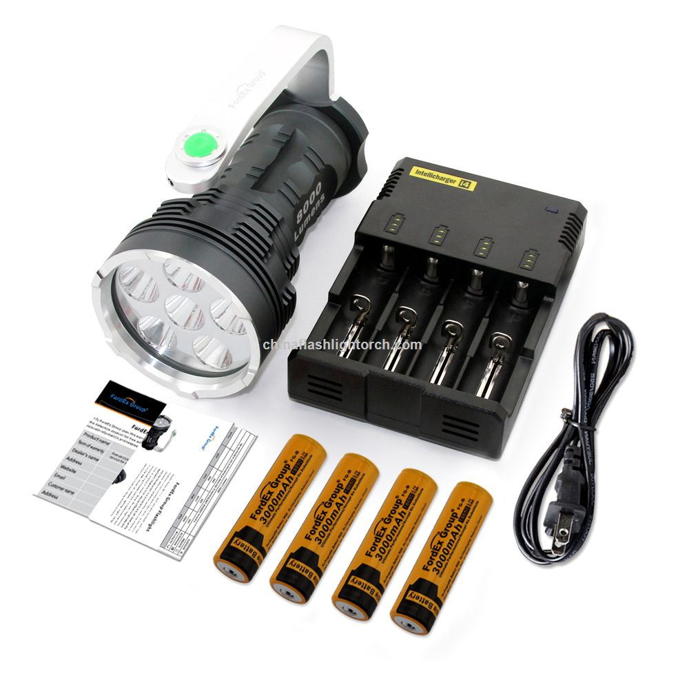 Fordex Group Super Bright 8000 Lumens 6x Cree Xm-l T6 LED Flashlight Searchlight with 4x18650 Rechargeable Batteries