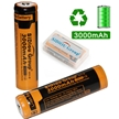 Sidiou Group Powerful 18650 Lithium Ion Battery Protected 3.7V 3000mAh Rechargeable Battery for LED flashlight torch (A Set of 2 Pieces)
