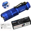 Sidiou Group 7W 300LM Mini CREE LED Flashlight Torch Adjustable Focus Zoom Light Lamp-Blue(3 mode)
