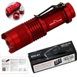 Sidiou Group 7w 300lm Mini Cree Led Flashlight Torch Adjustable Focus Zoom Light Lamp (Red)