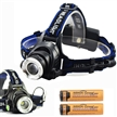 Sidiou Group 1800Lm CREE XM-L T6 10W Focus LED Headlight with 2 X 3000mAh 18650 Battery and Battery Charger