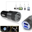 Sidiou Group Multifunction 12v 24v 2.1A 1.0A Aluminium Bullet Dual Port USB Car Charger for Normal Usb Phone (Black)