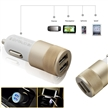 Sidiou Group Multifunction 12v 24v 2.1A 1.0A Aluminium Bullet Dual Port USB Car Charger for Normal Usb Phone (Gold)