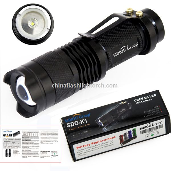 Sidiou Group Mini 3-MODE 7W 400Lm CREE Q5 LED ZOOMABLE Zoom Flashlight Torch Light